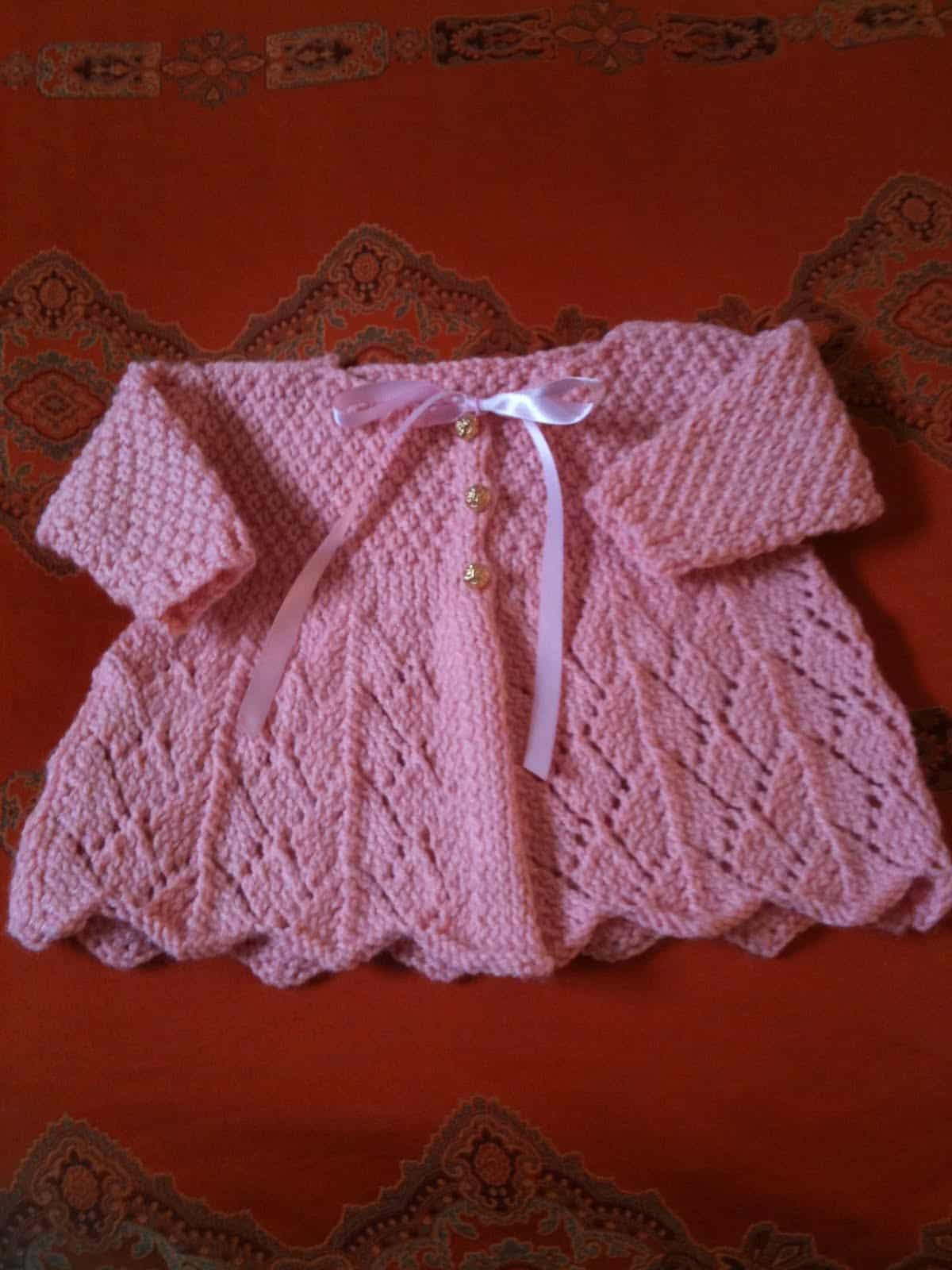 Fancy lace baby sweater
