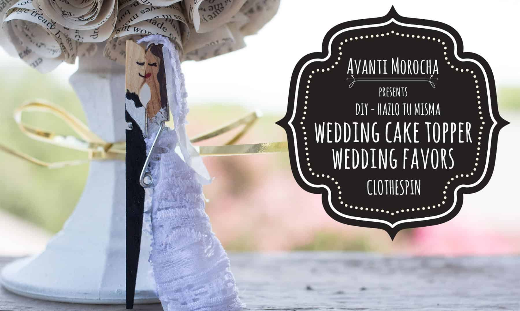 Flat clothespin wedding cake topper