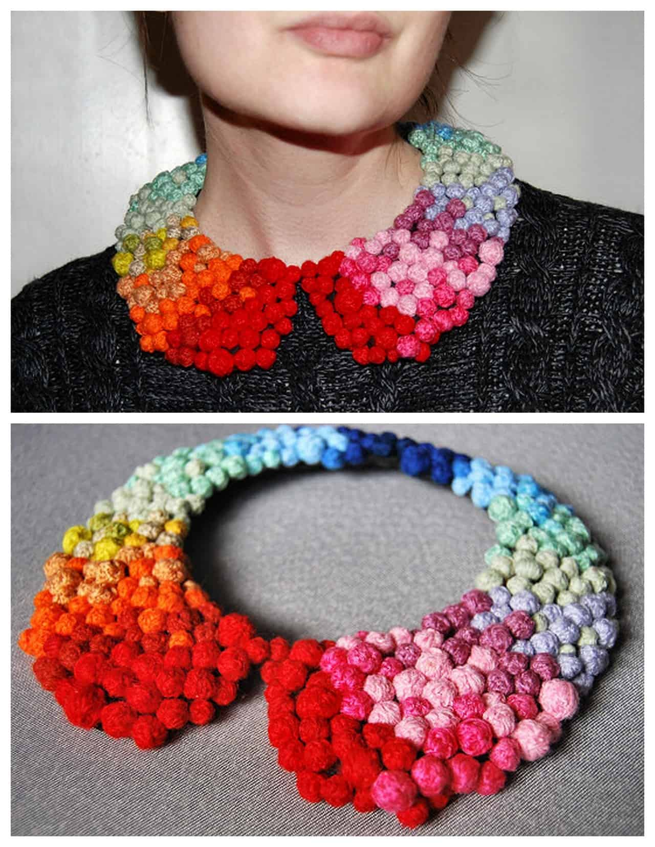 Fully pommed collar necklace