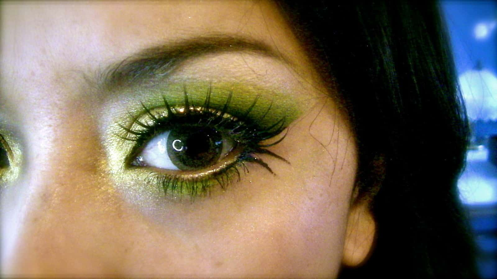 Green and gold with simple mascara