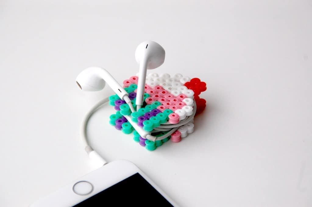 Hama beads earphone holder
