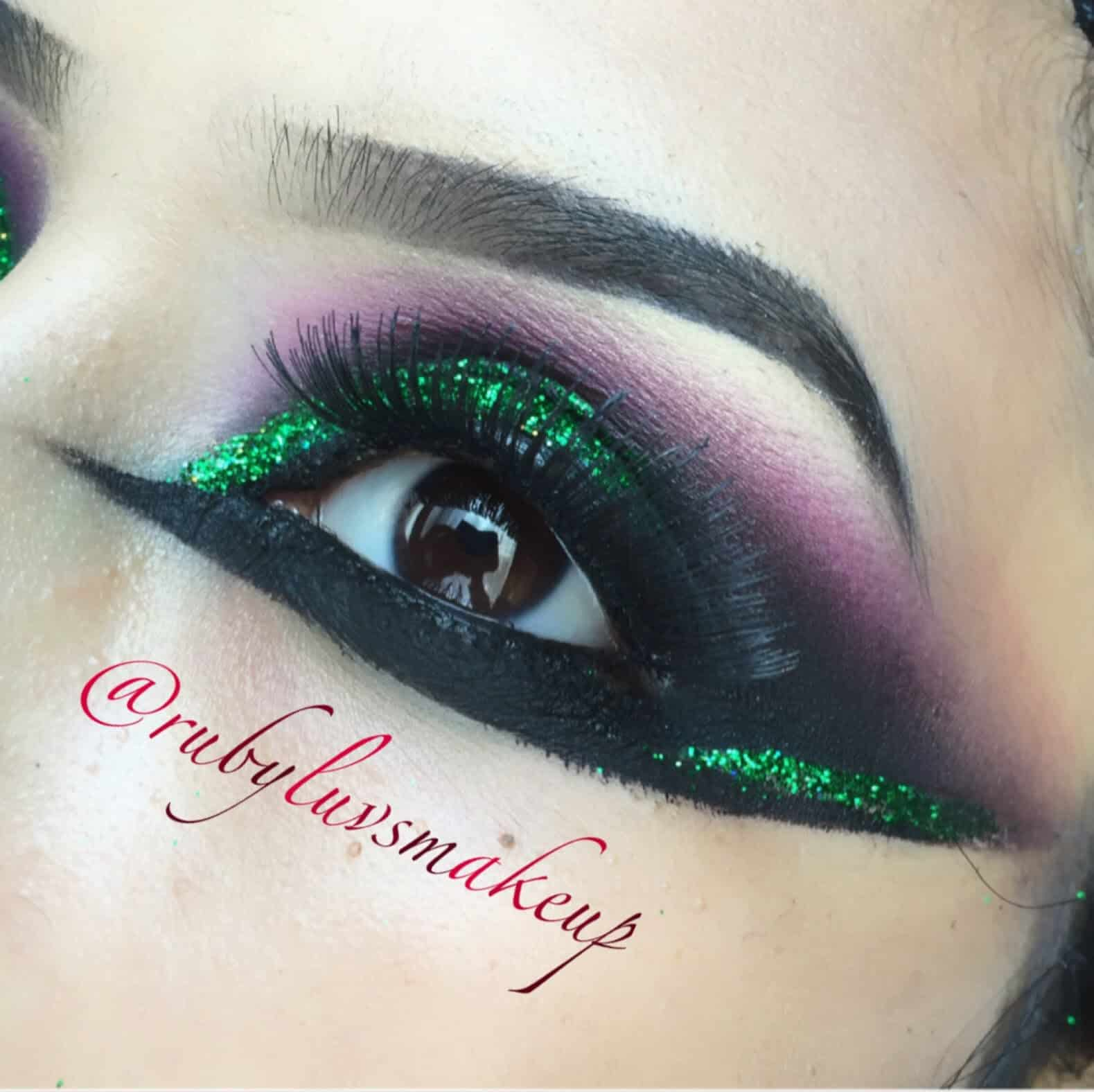 Intense black liner and green glitter eye