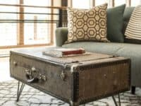 VIEW IN GALLERY Large Industrial Era Suitcase Coffee Table 200x150 DIY  Decor: Ingenious Ways To Upcycle Old Suitcases