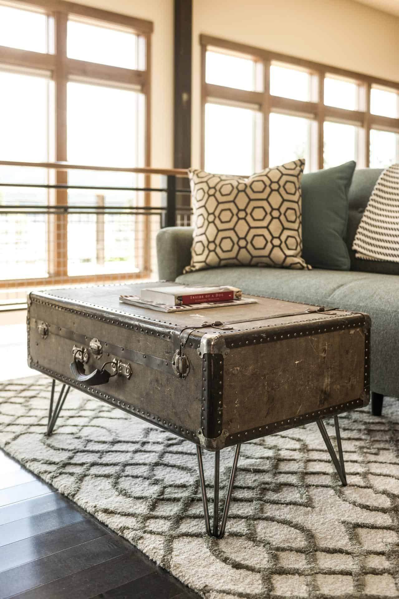 Large industrial era suitcase coffee table