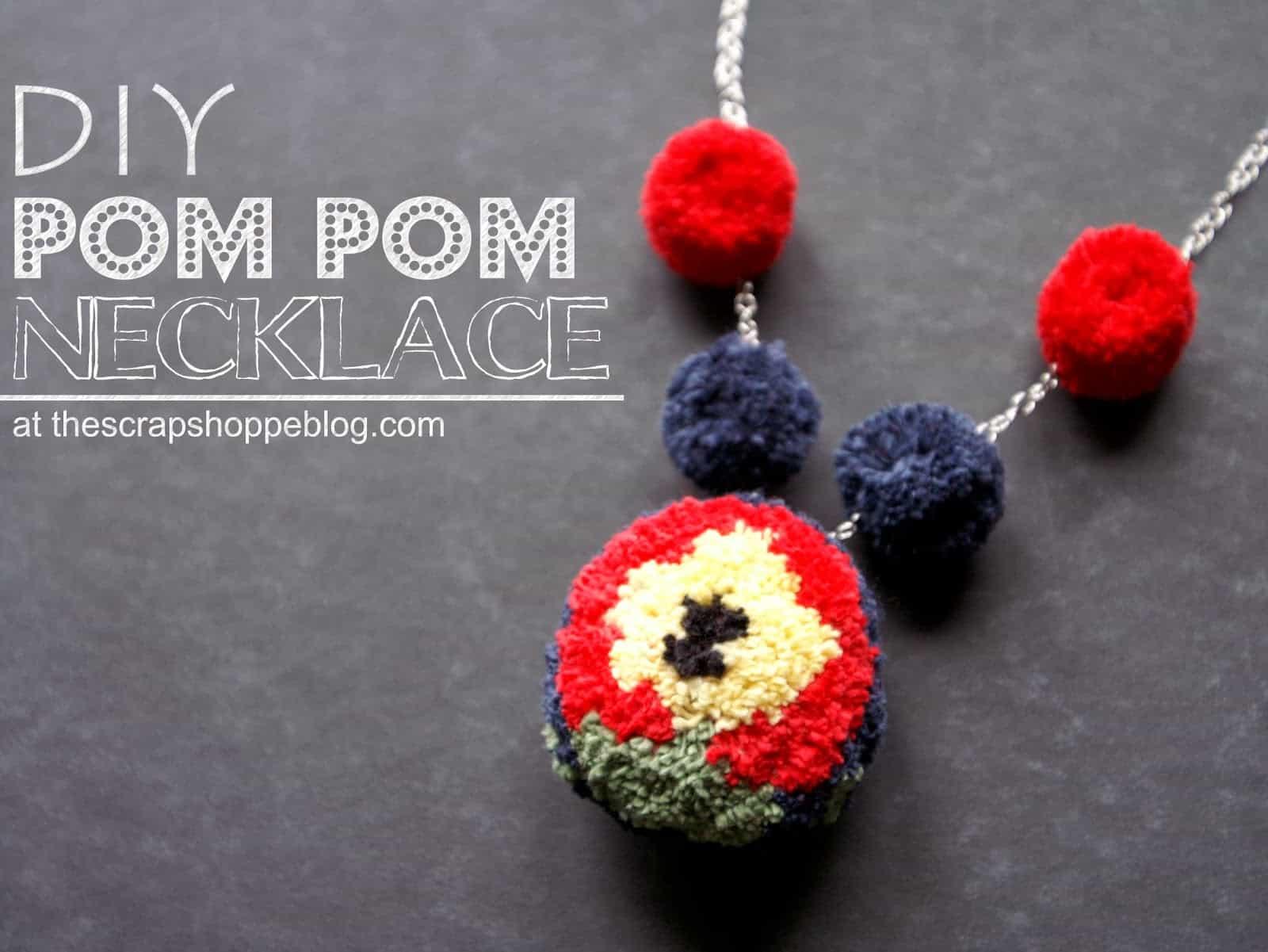 Mixed size pom pom necklace