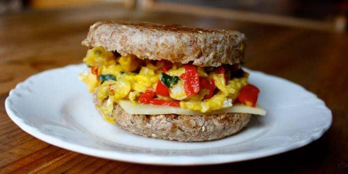 Mozzarella and eggs breakfast sandwich