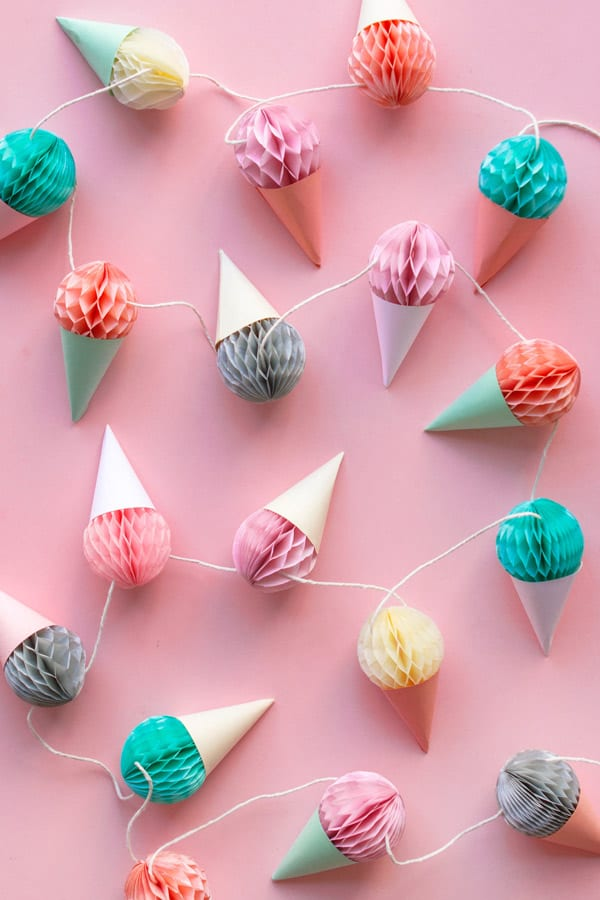 Fun simple and unique diy paper decorations paper ice cream garland solutioingenieria Images