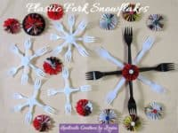 Plastic fork snowflakes 200x150 Upcycling Obsession: 15 Awesome Crafts Made with Plastic Forks
