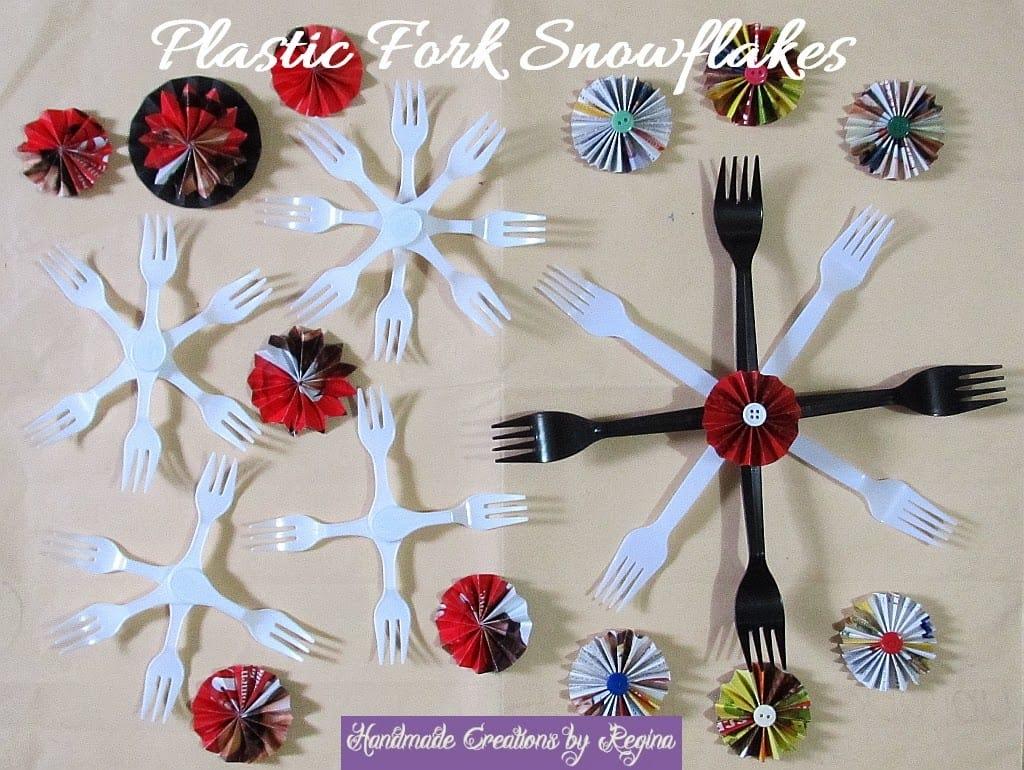 Plastic fork snowflakes