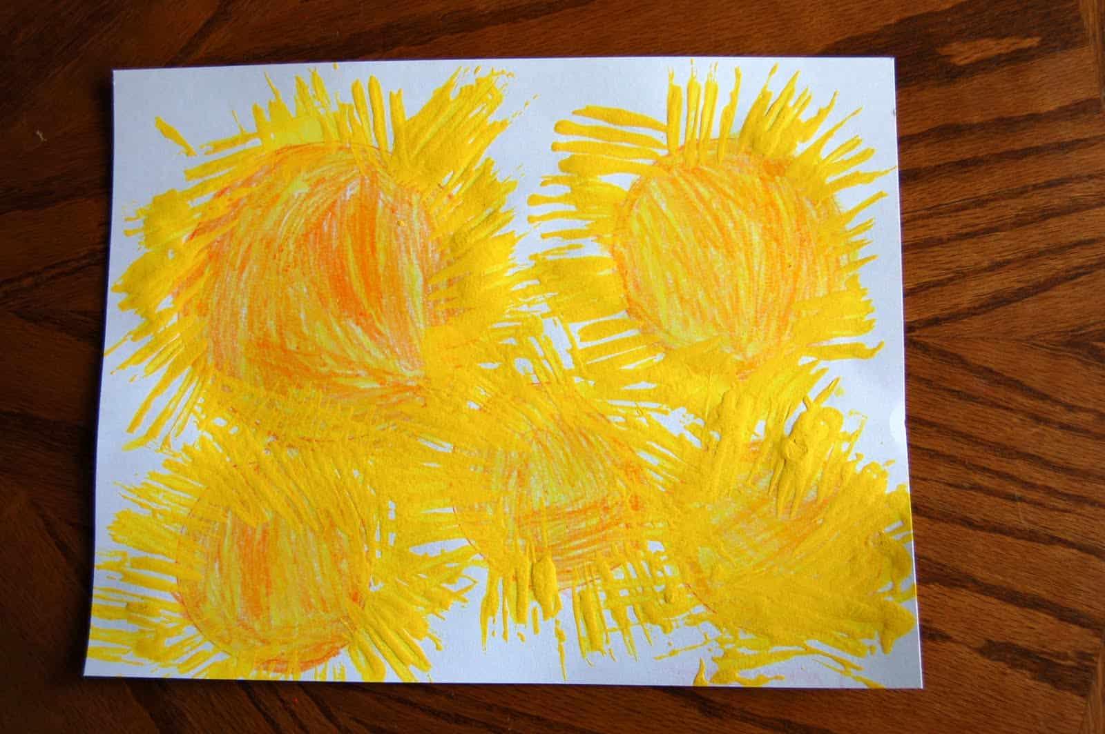 Plastic fork sunshine paintings