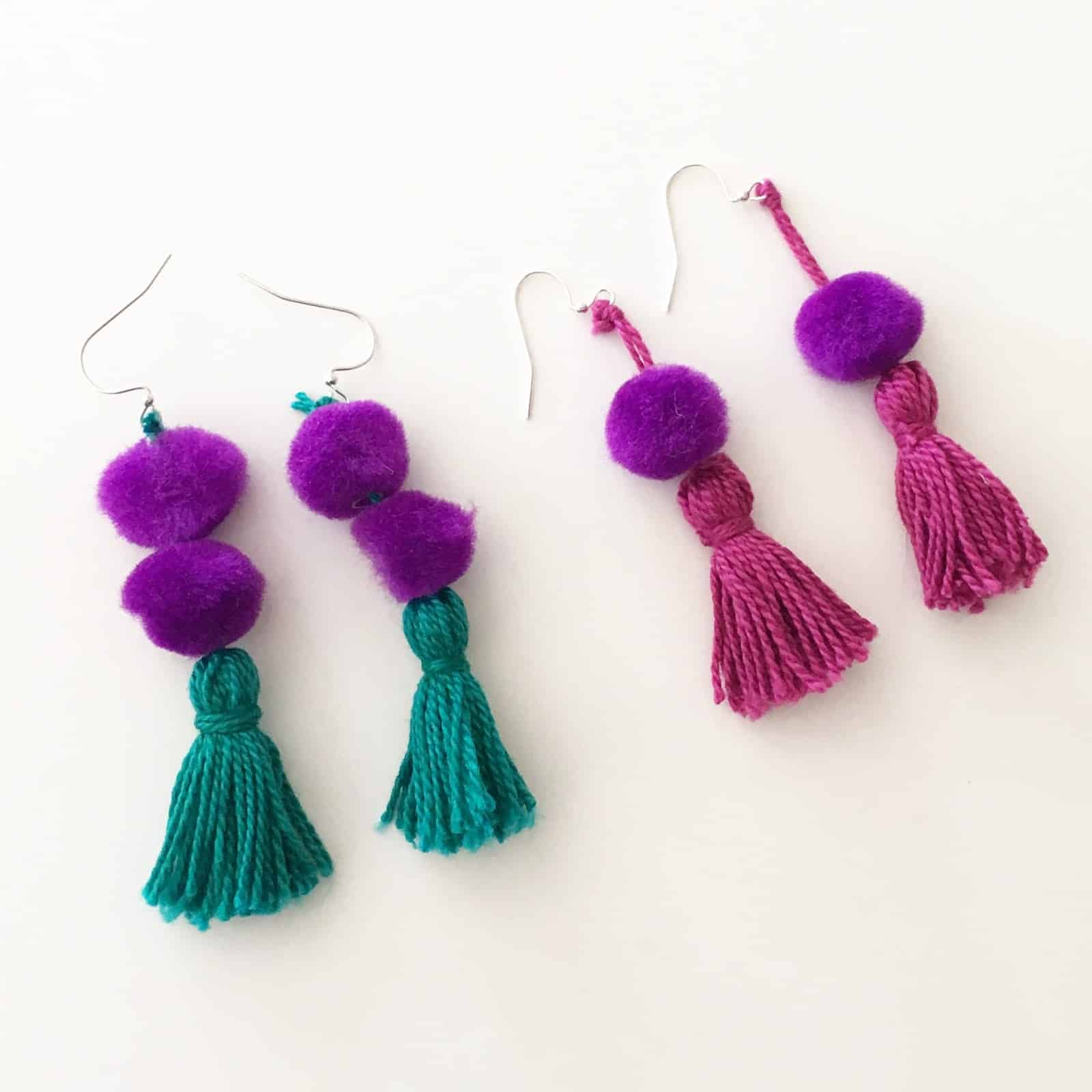 Pom poms and tassel earrings