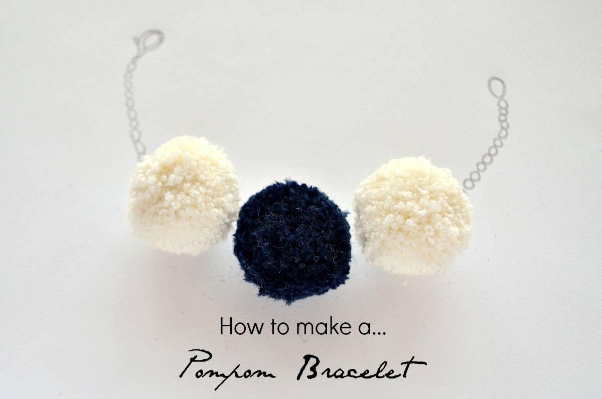 Pretty yarn pom pom bracelet