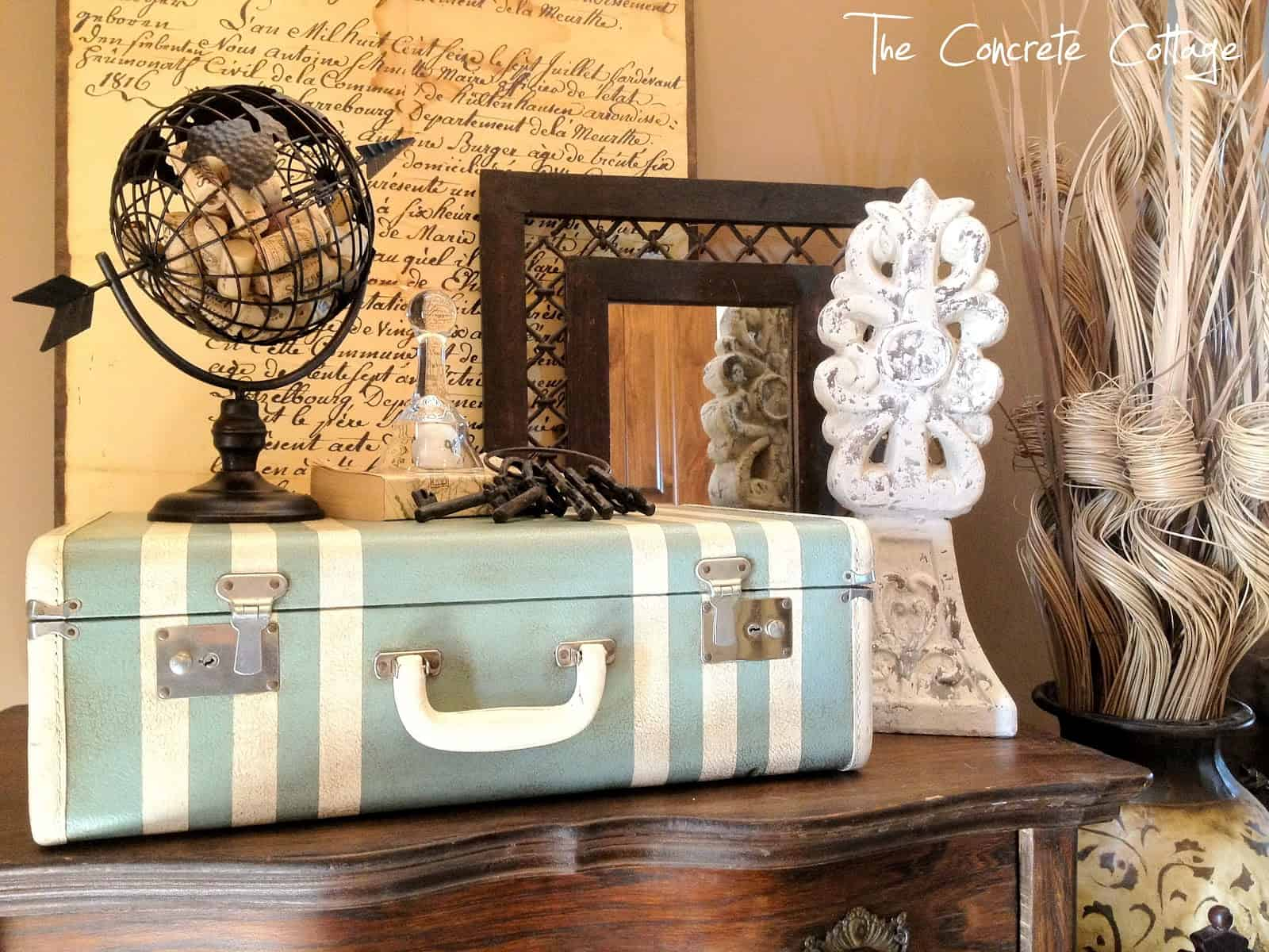 Simple painted suitcase decor