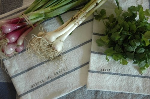 Striped produce bags