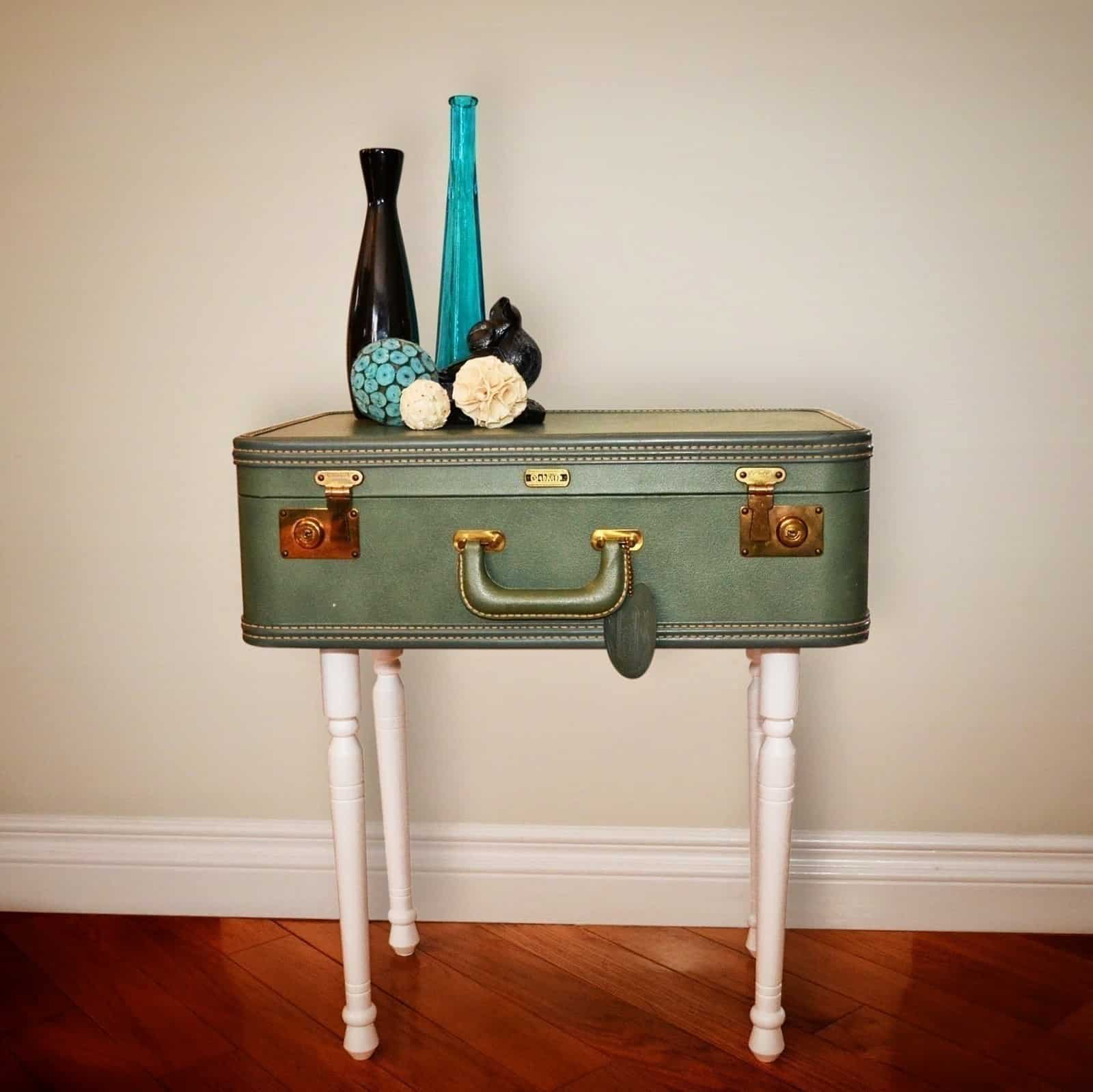 Tall vintage suitcase side table