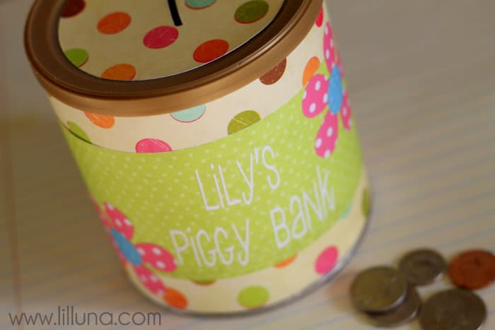 Tin can piggy bank