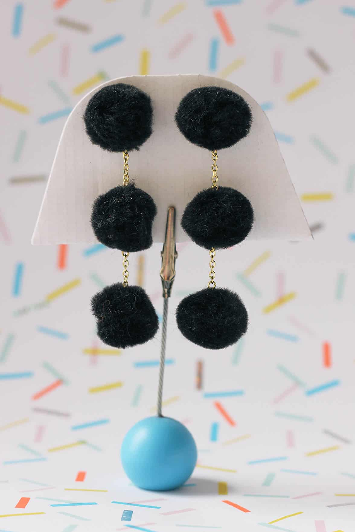 Triple pom pom chain earrings