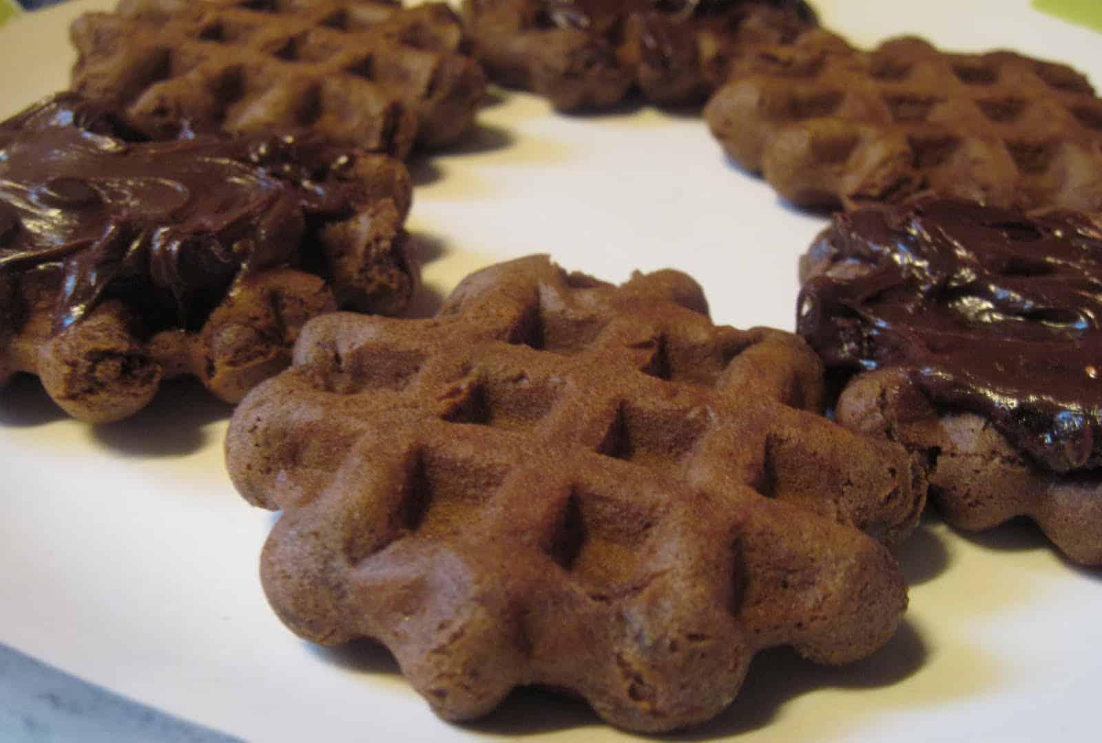 Waffle iron chocolate cookies