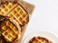 Waffle iron grilled cheese sandwiches 200x150 Gridded Cuisine: Awesome Recipes Made with Waffle Maker