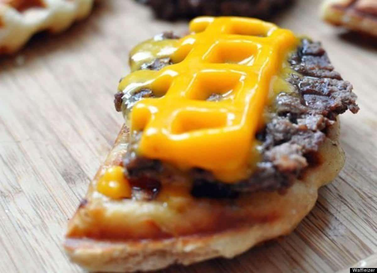 Waffle maker hamburgers