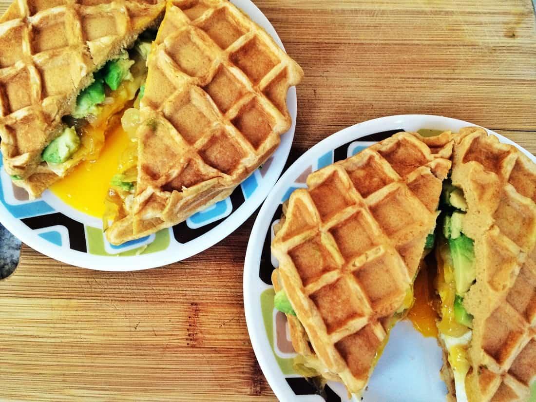 Waffled fried egg sandwich