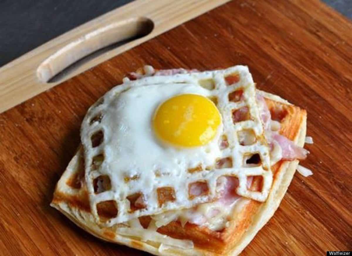 Waffled fried egg