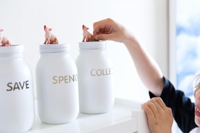 White mason jar piggy bank