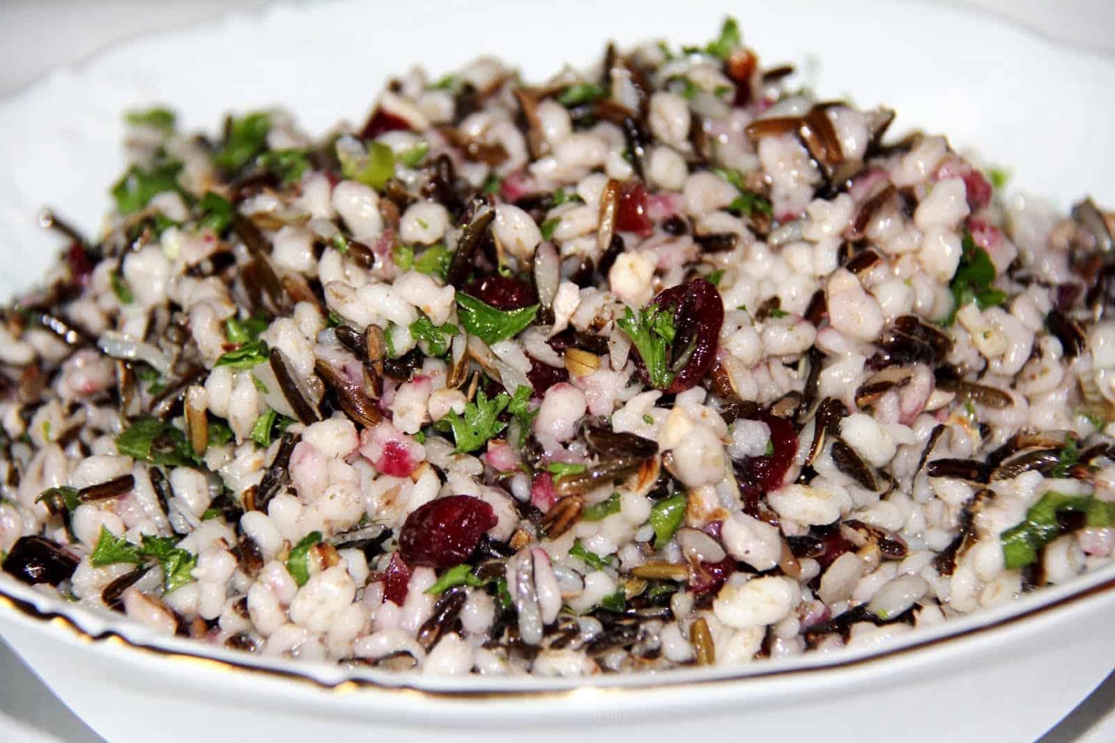 Wild rice and barley salad