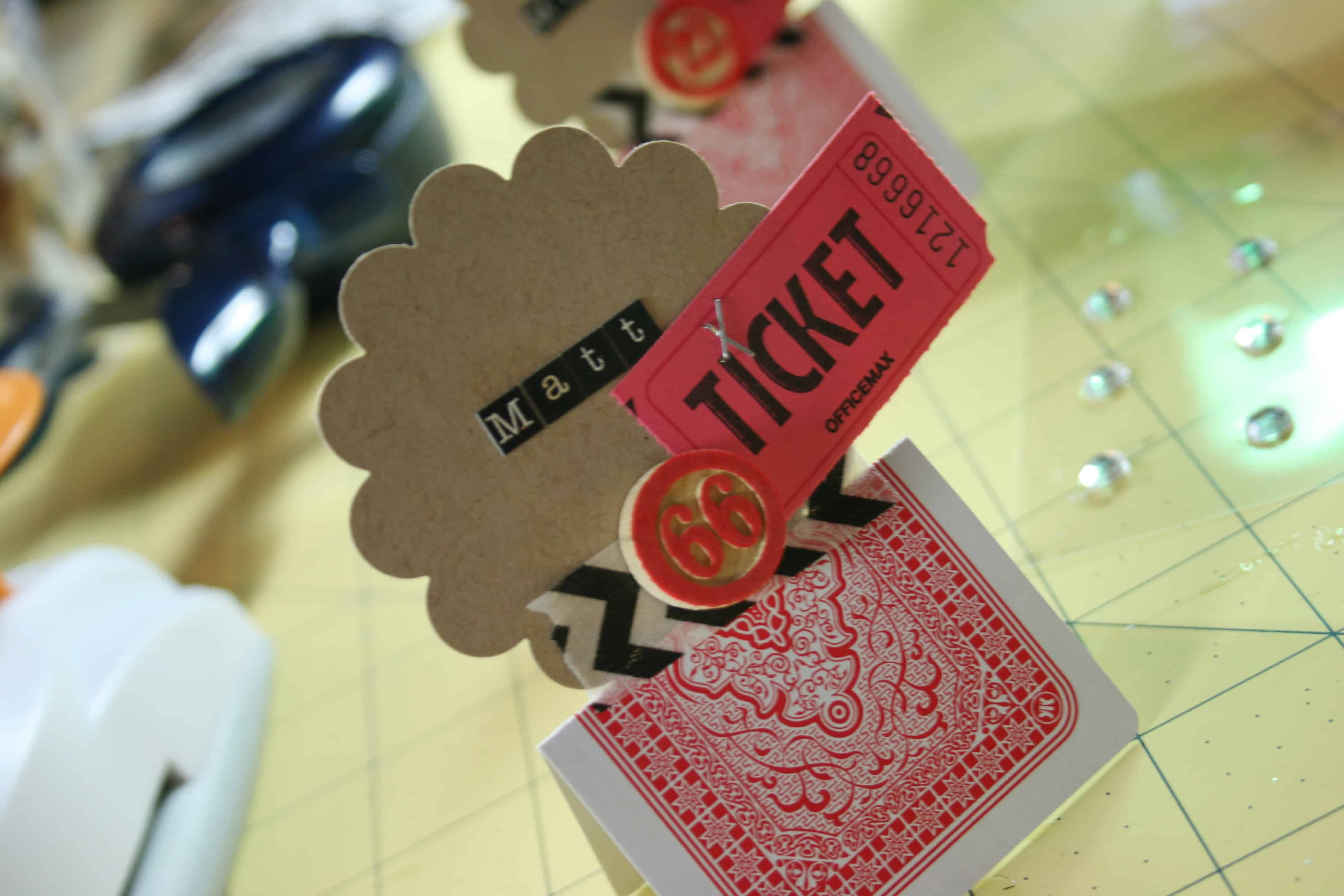 playing card game night place card