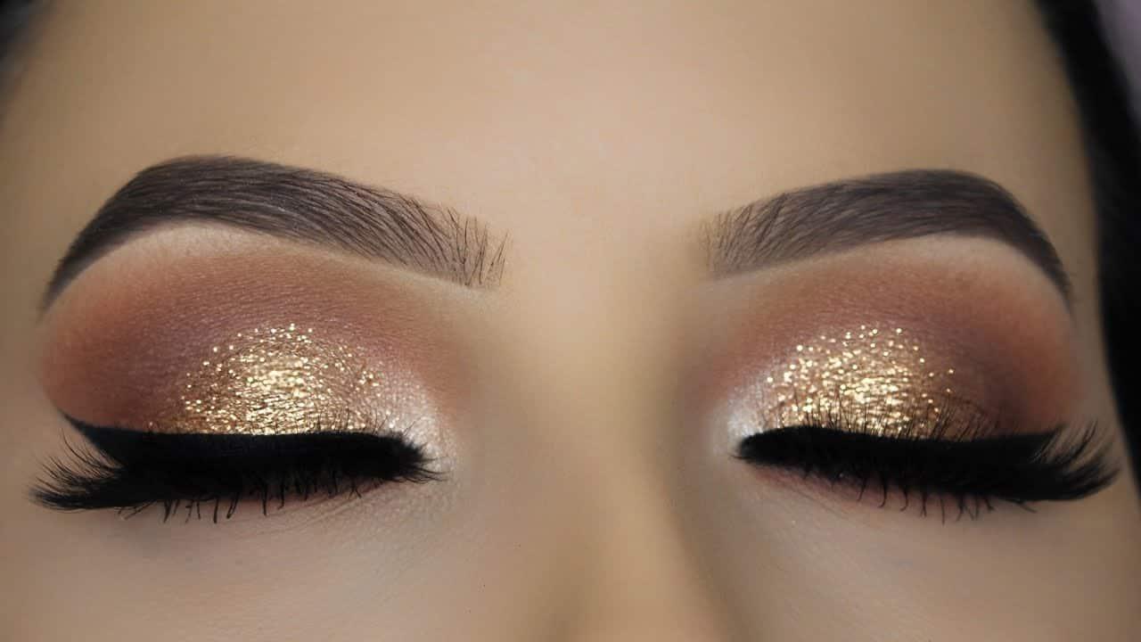 Brown glitter eye makeup