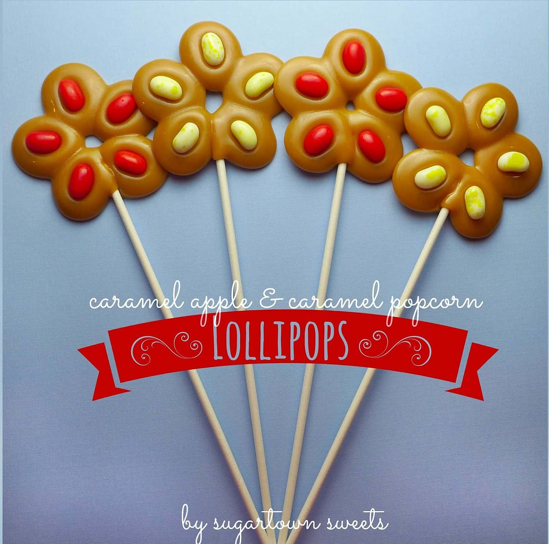 Caramel apple and caramel popcorn lollipops DIY