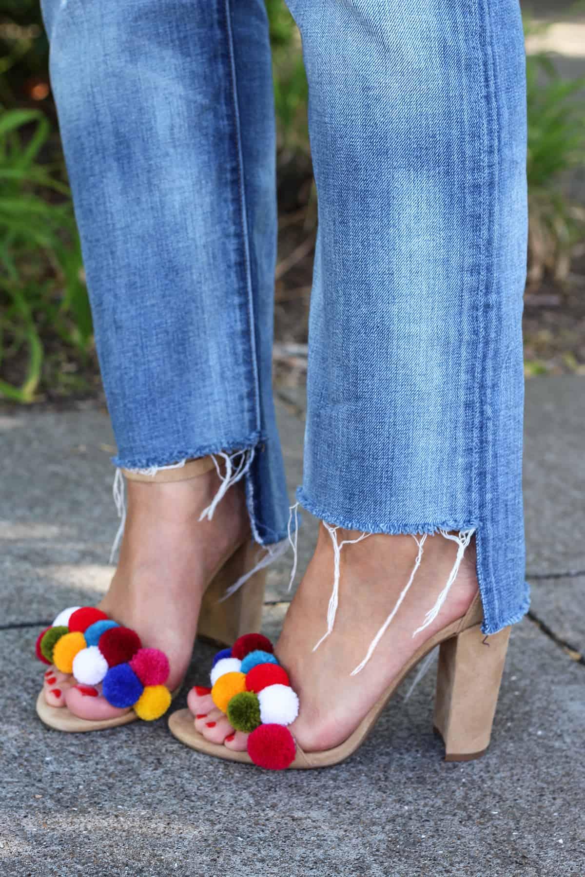 Colourful pom pom heeled sandals