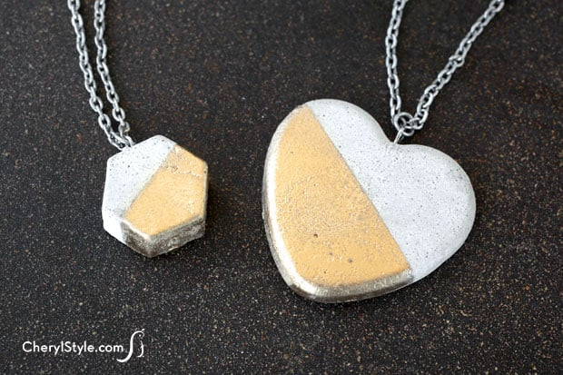 Concrete and gold necklaces