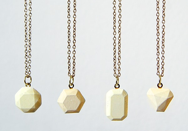 White concrete gemstone pendants