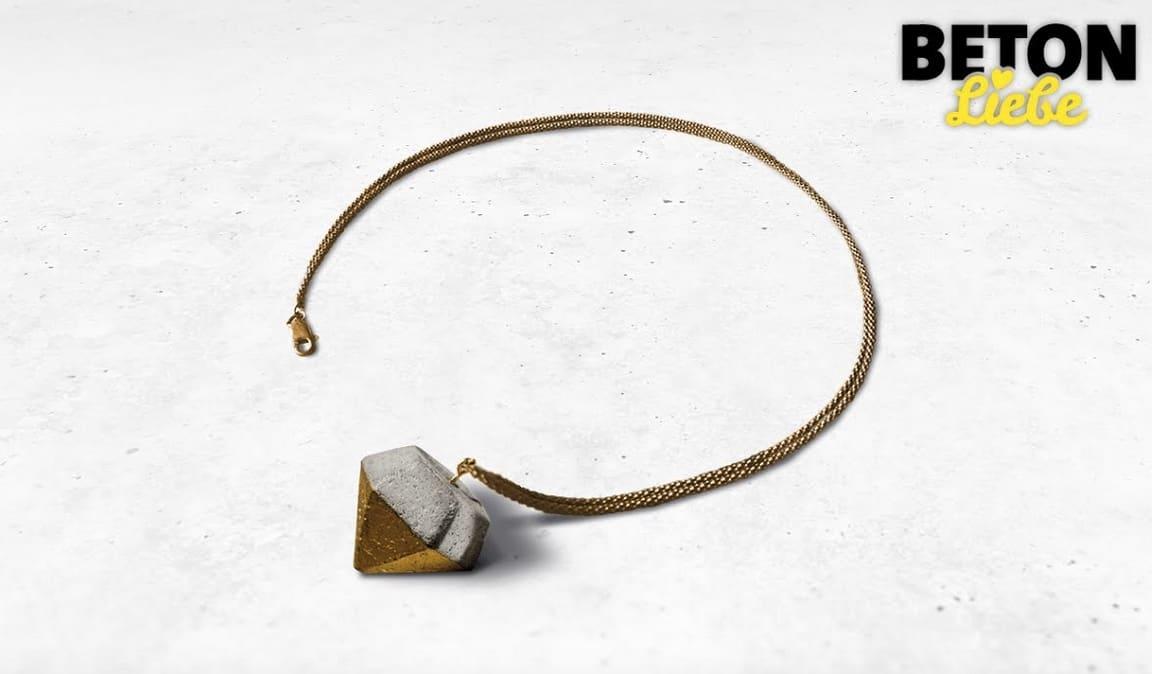 Concrete gold leaf diamond necklace