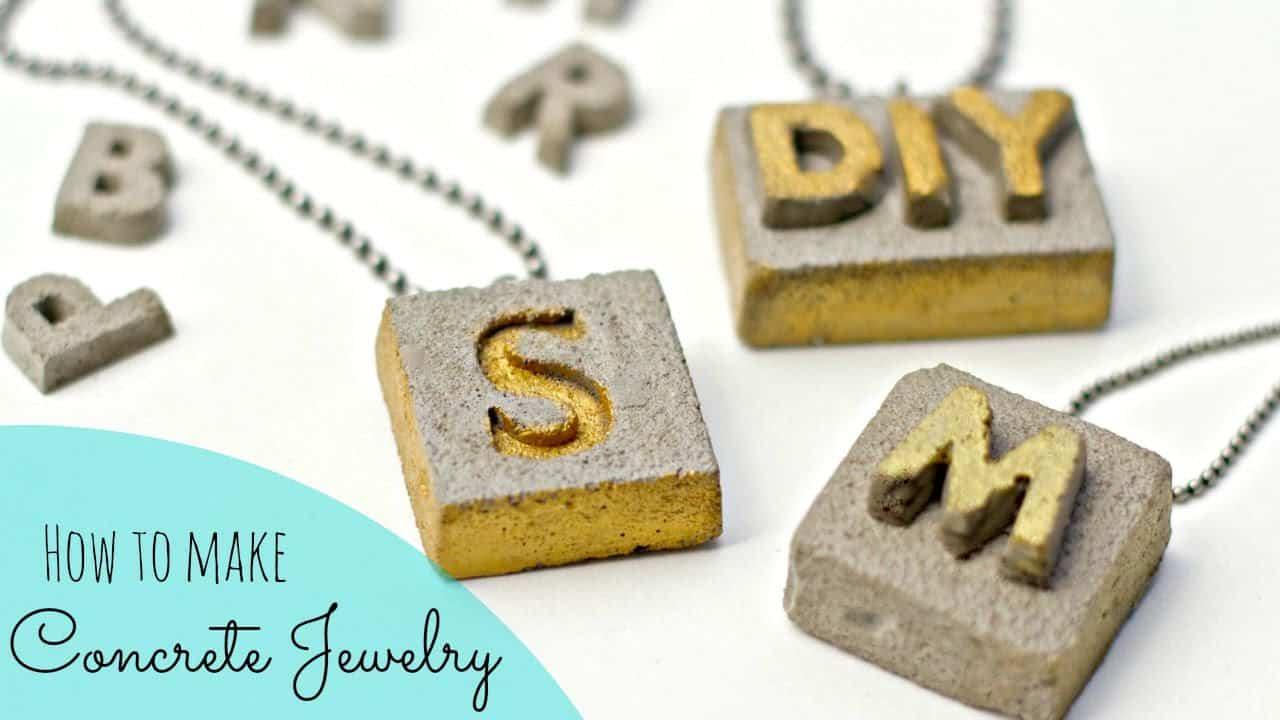 Concrete lettered necklaces