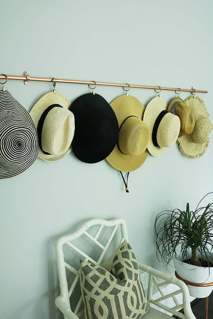 Copper pipe hat rack