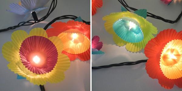 Cupcake flower string lights