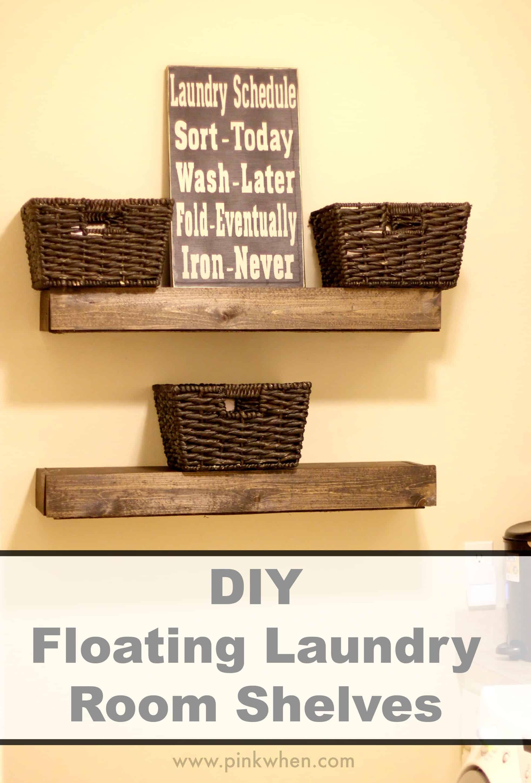DIY floating laundry room shelves