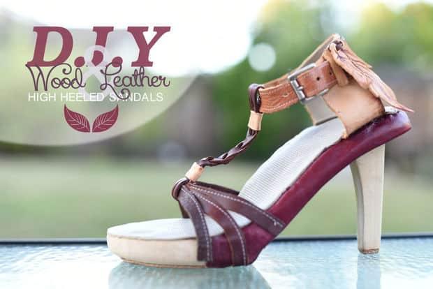 DIY wood and leather sandal heels