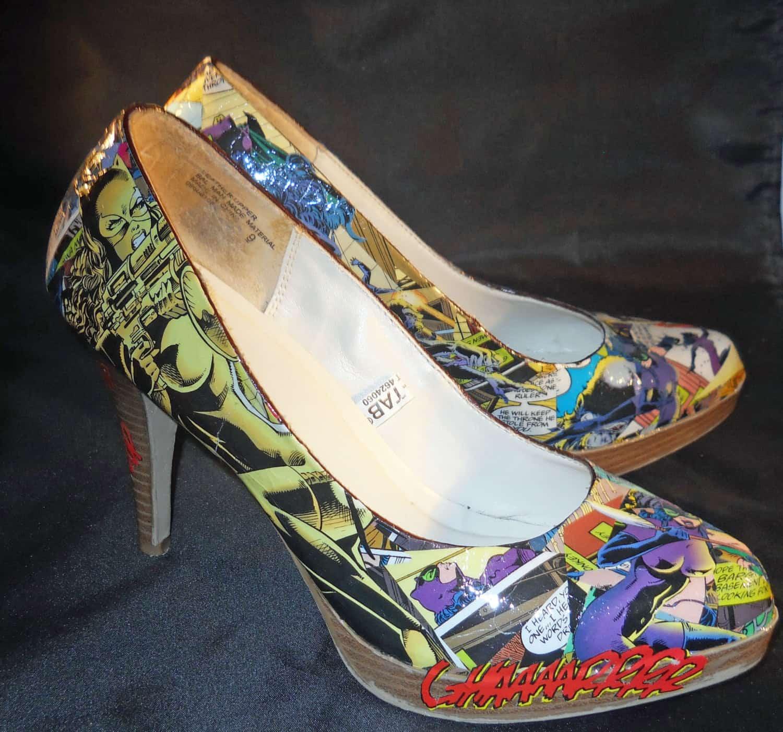Decoupage comic book heels