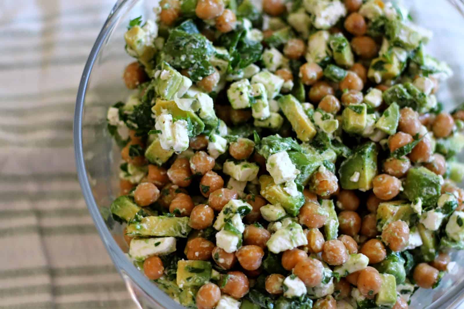 Feta and avocado chickpea salad