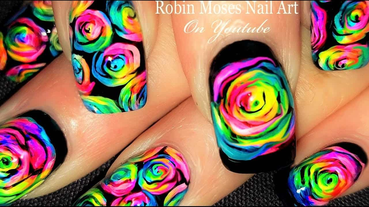 Floral neon nails