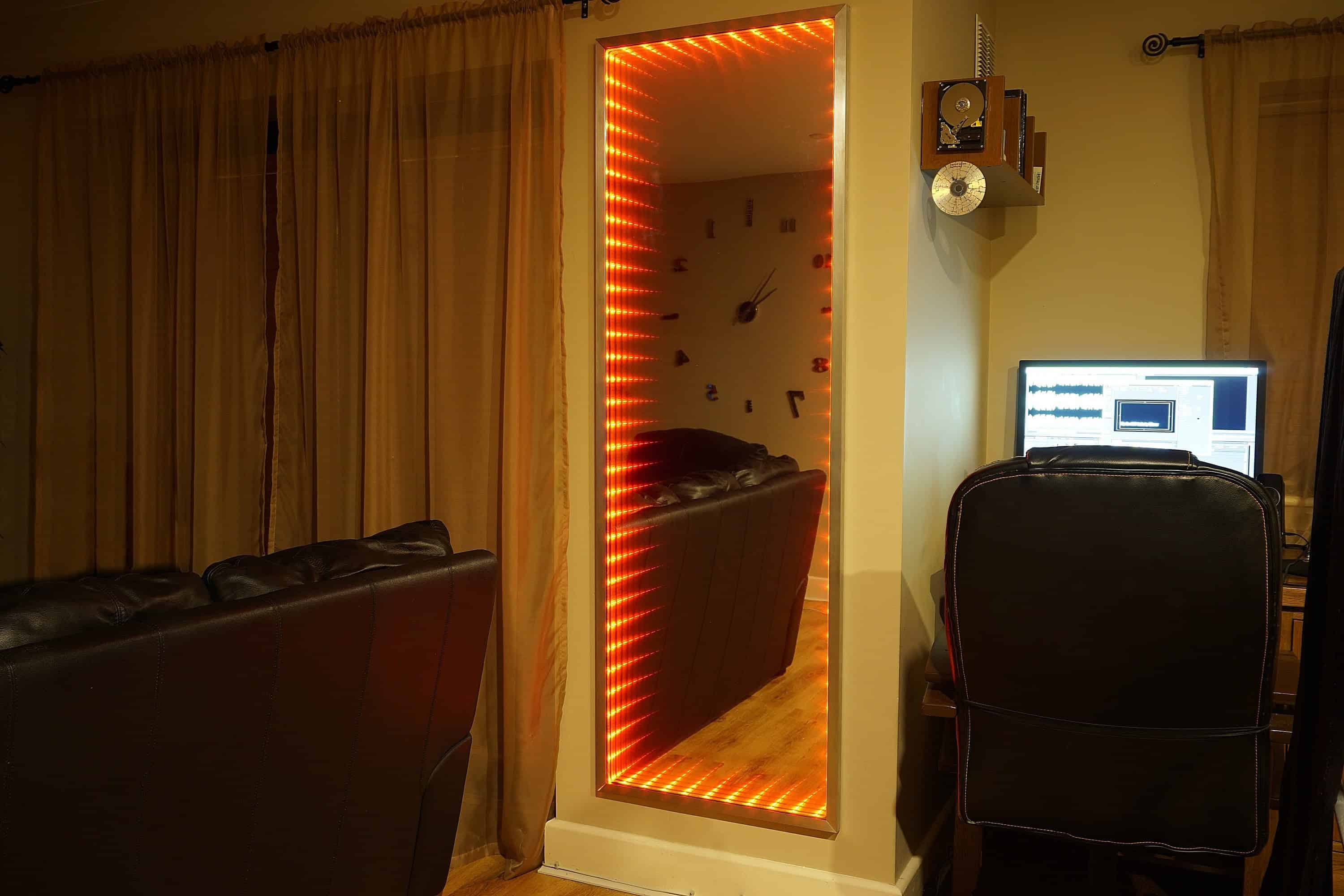 Full length wall mounted infinity mirror