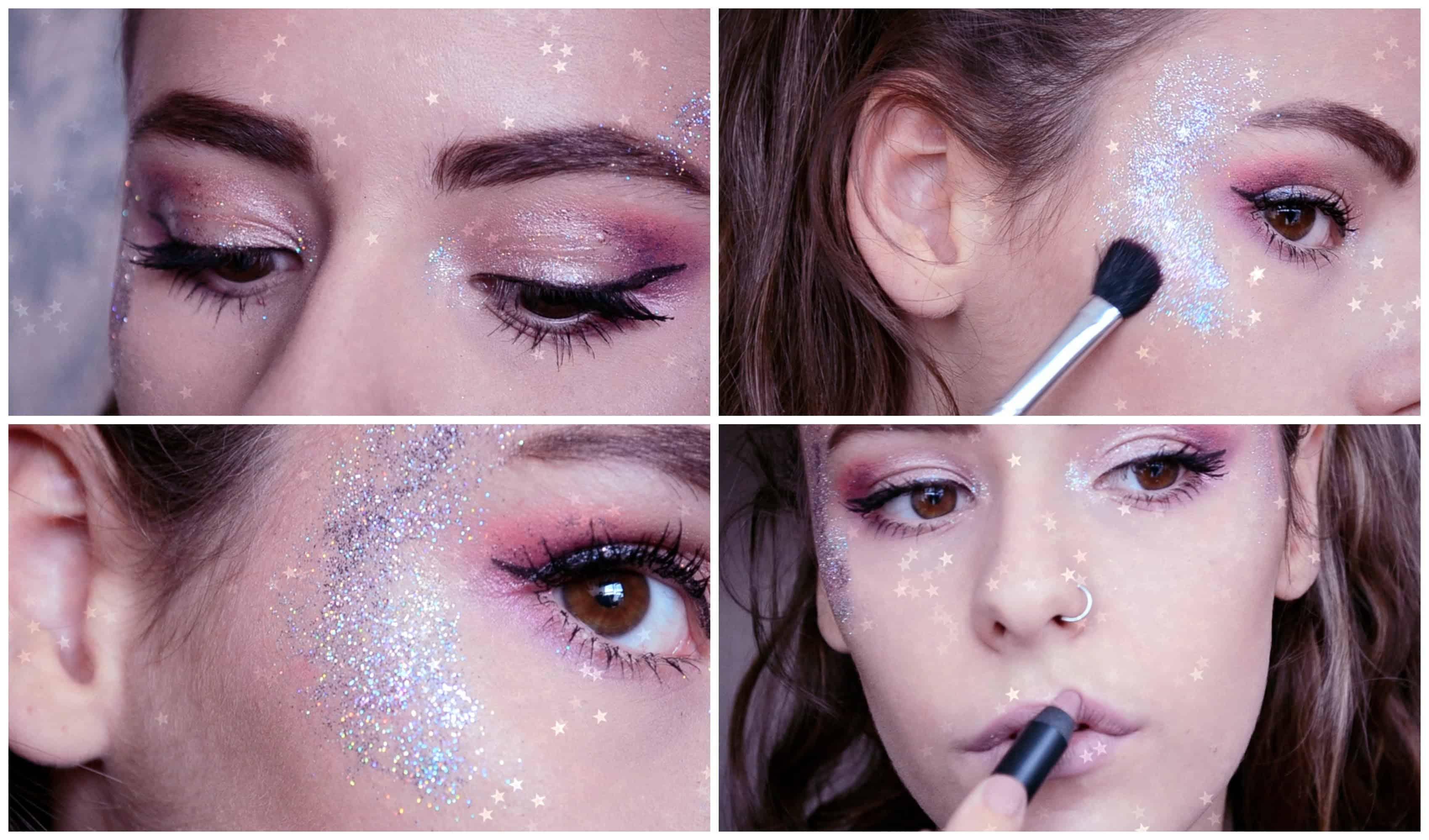 Galactic glitter makeup
