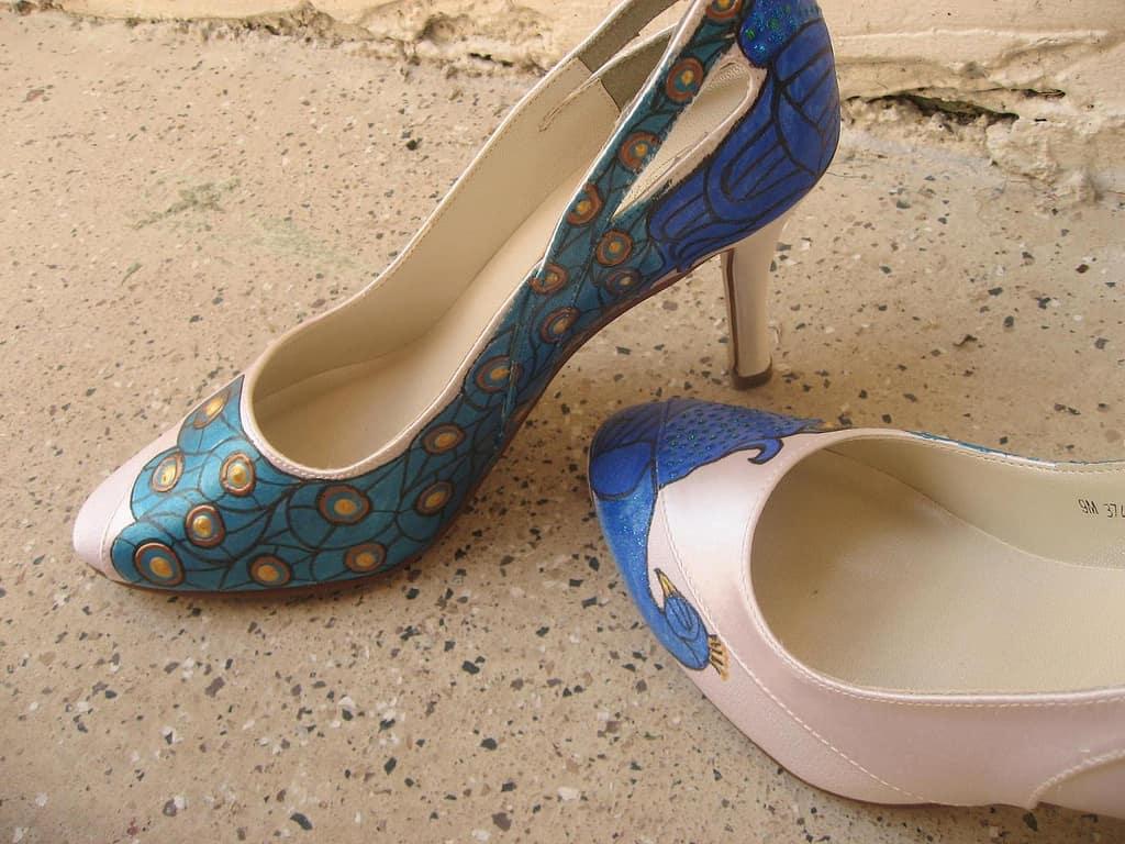 Hand painted peacock heels
