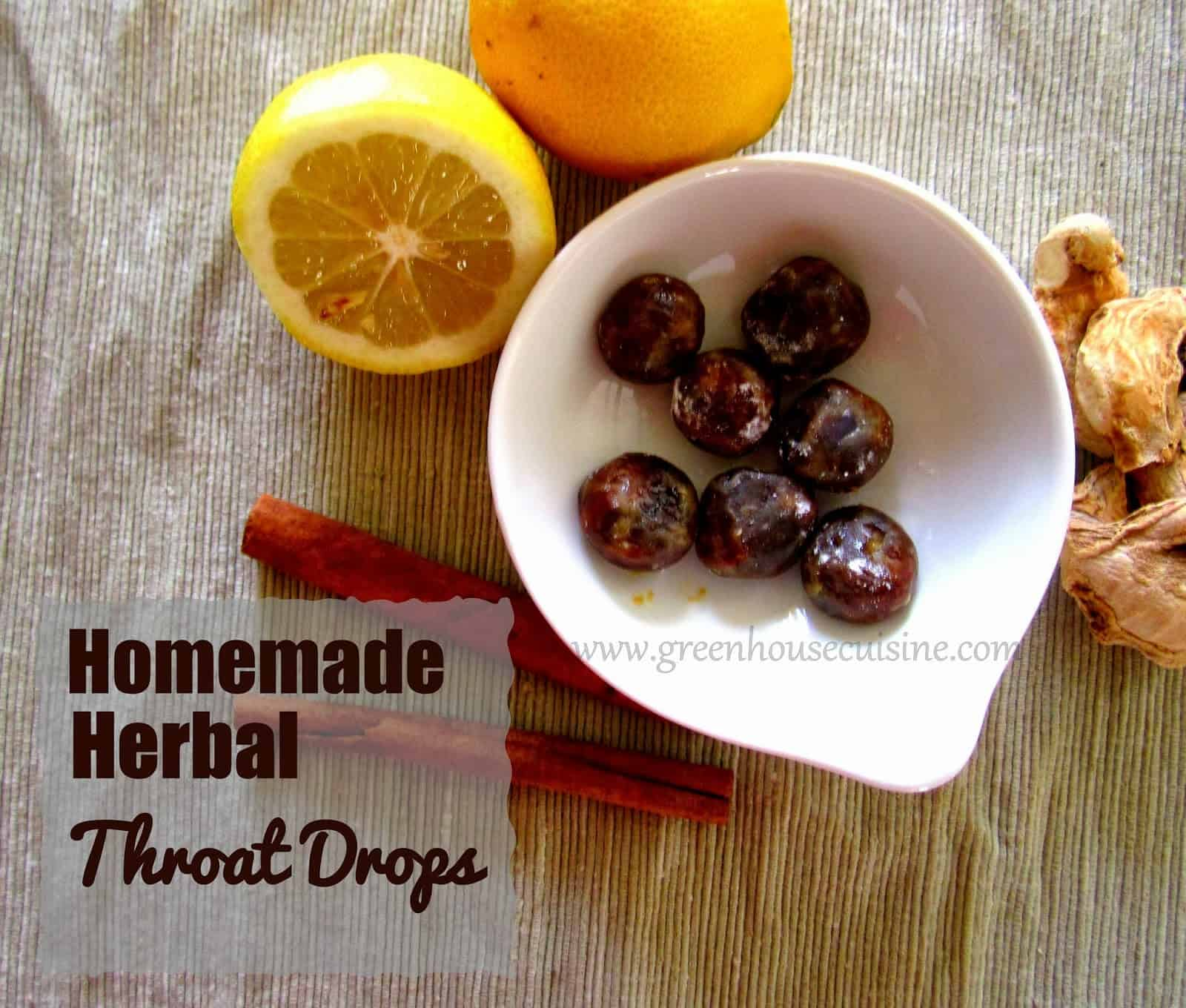 Homemade herbal throat drops