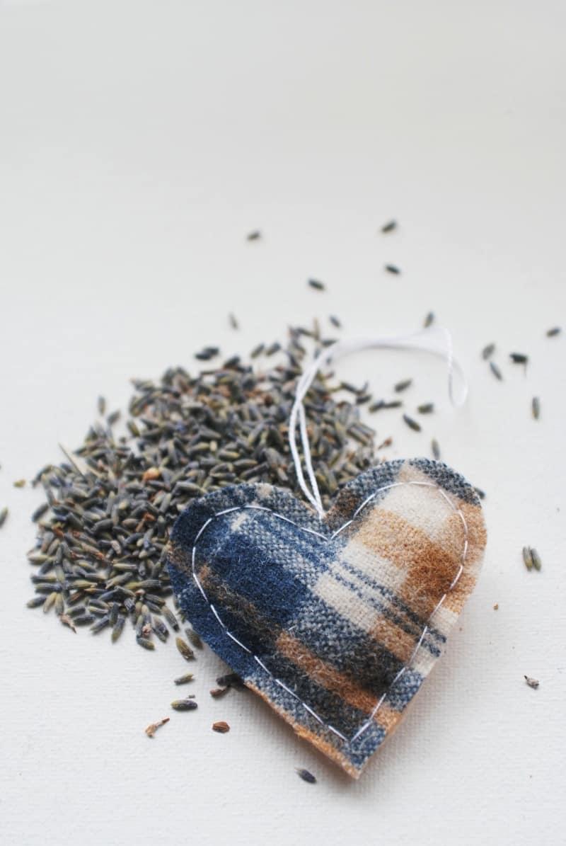 Lavender heart car freshener