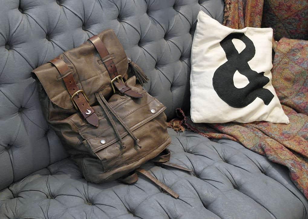 Leather jacket backpack