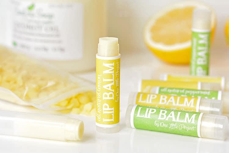 Lemon and peppermint lip balm